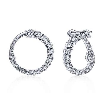14k White Gold Wrap Around Diamond Hoops by Gabriel NY