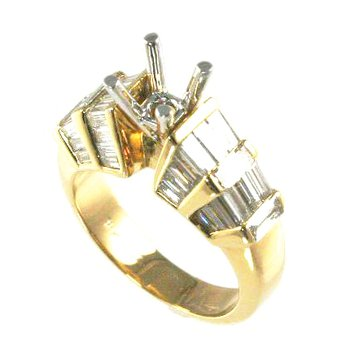 18k Yellow Gold Fancy Baguette Diamond Engagement Ring Mounting - #27546