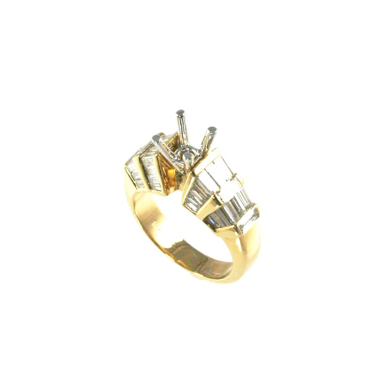 Signature Collection 18k Yellow Gold Fancy Baguette Diamond Engagement Ring Mounting - #27546