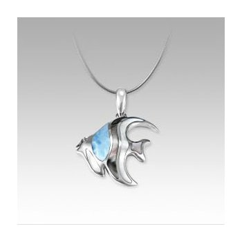 Marahlago Angelfish Pendant with Larimar and Mother of Pearl