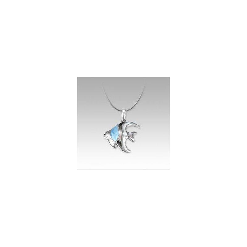 Marahlago Larimar Marahlago Angelfish Pendant with Larimar and Mother of Pearl