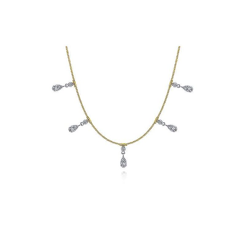 Signature Collection 14k Yellow Gold Diamond Drops Choker Necklace by Gabriel NY