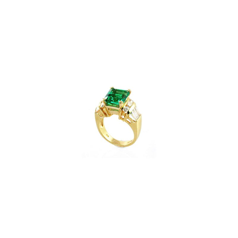 Signature Collection Genuine Emerald and Diamond Ring in 18k Yellow Gold - 27772