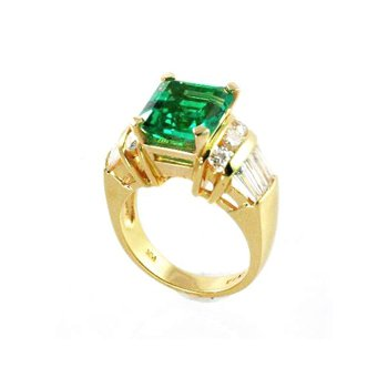 Genuine Emerald and Diamond Ring in 18k Yellow Gold - 27772