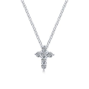 Gabriel NY 14k White Gold Delicate 14k White Gold Diamond Cross Style #NK1370W45JJ