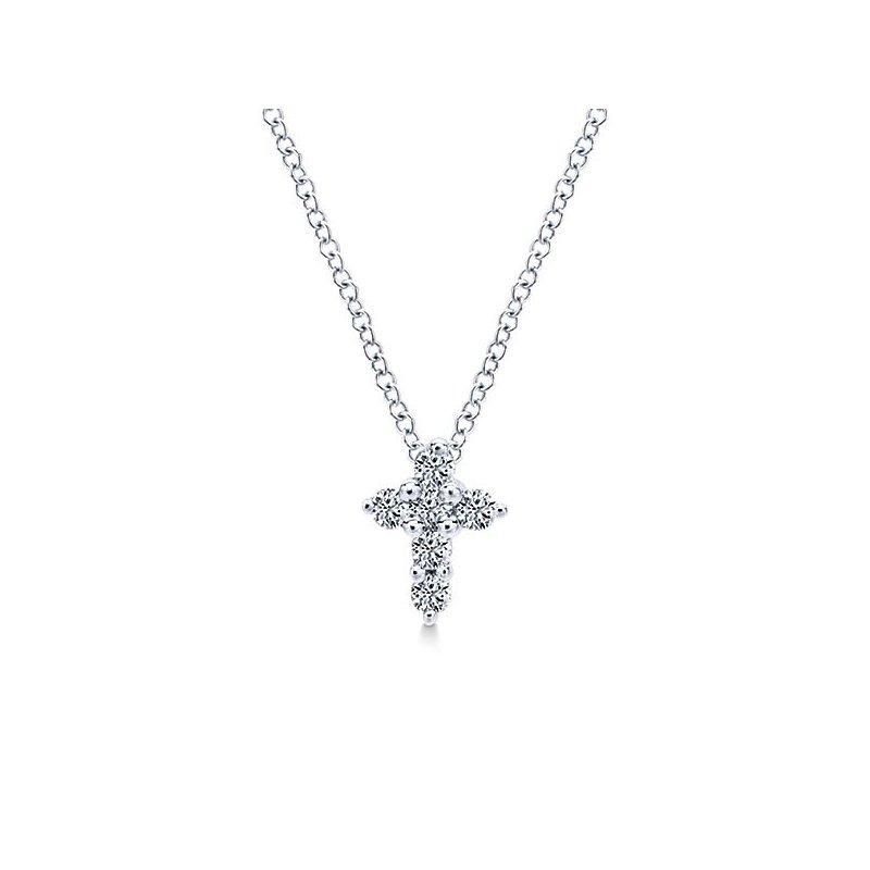 Crosses, Religious & Symbolic Jewelry Gabriel NY 14k White Gold Delicate 14k White Gold Diamond Cross Style #NK1370W45JJ