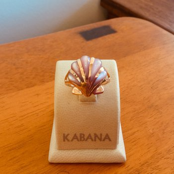 Kabana 14k Rose Gold Shell Ring with inlaid Pink Mother of Pearl - #34462