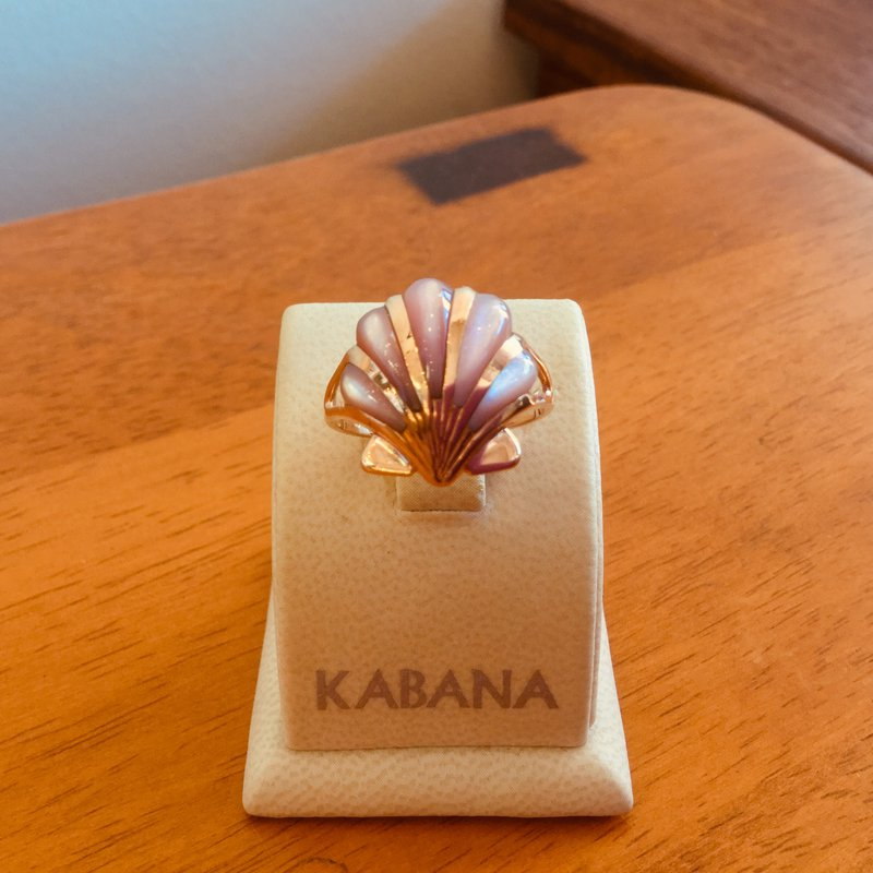 Kabana Jewelry Kabana 14k Rose Gold Shell Ring with inlaid Pink Mother of Pearl - #34462