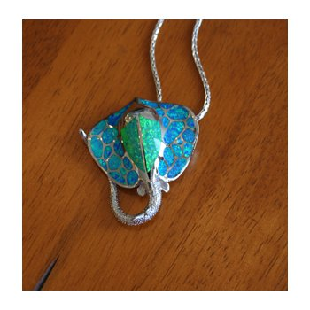 Sterling Silver and 18k Gold Plated Large Manta Ray Pendant with Kyocera Lab Created Synthetic Opal.
