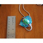 Kovel Sealife Sterling Silver and 18k Gold Plated Large Manta Ray Pendant with Kyocera Lab Created Synthetic Opal.