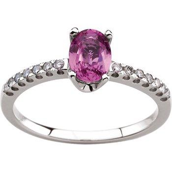 Genuine Pink Sapphire & Diamond Ring
