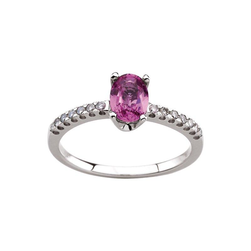 Signature Collection Genuine Pink Sapphire & Diamond Ring