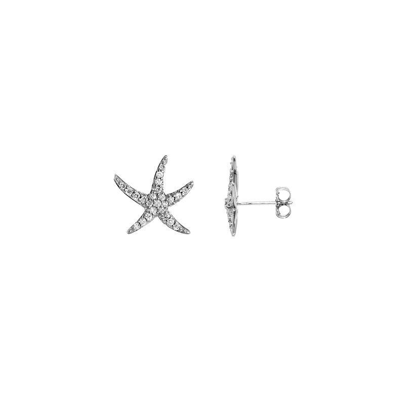 Sealife Jewelry 14k White Gold Diamond Starfish Earrings