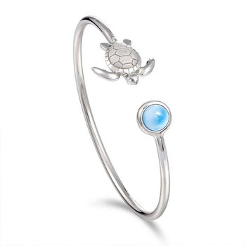 Sterling Silver Turtle Bangle with Larimar
