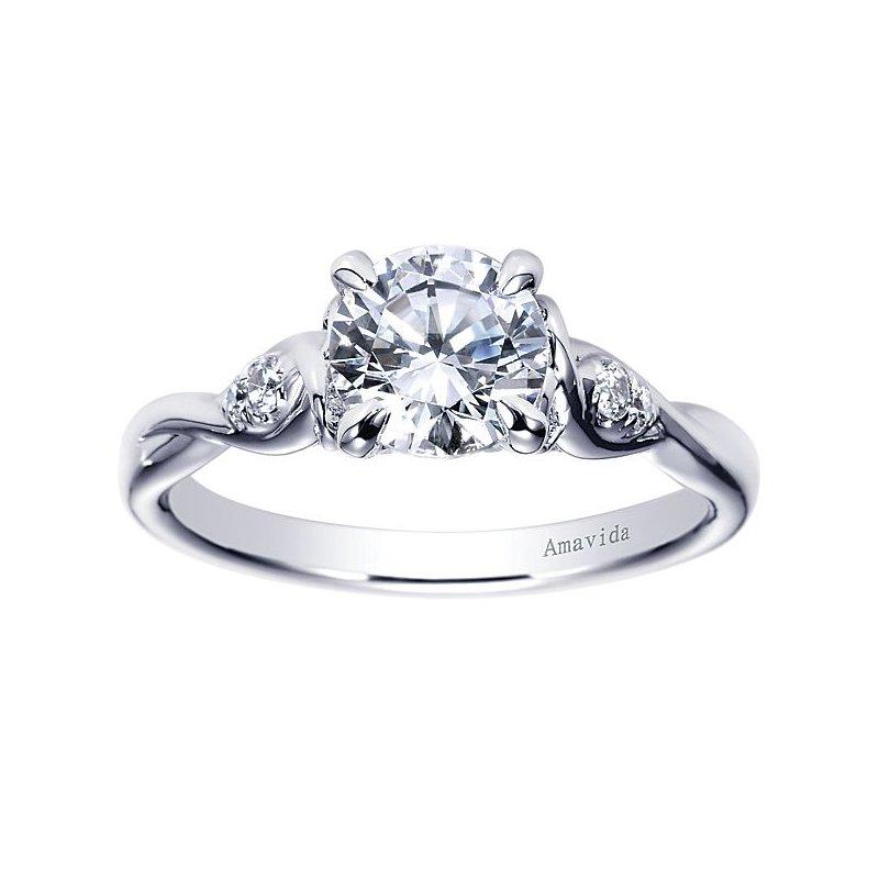 Gabriel NY Amavida Collection by Gabriel NY Platinum Three-Stone Diamond Engagement Ring