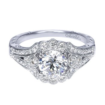 Platinum Vintage Style Halo Engagement Ring from the Amavida Collection by Gabriel NY
