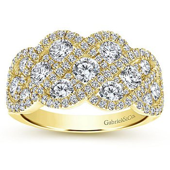 Gabriel NY 14k Yellow Gold Diamond Anniversary Ring - Style #LR6258Y44JJ