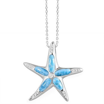 Alamea Sterling Silver Starfish with Larimar