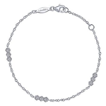 14k White Gold Endless Diamonds Station Bracelet