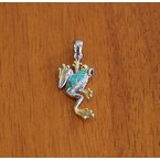 Kovel Sealife Sterling Silver and 18k Gold Plate Long Leg Frog Pendant with Kyocera Lab Created Synthetic Opal