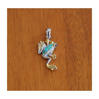 Sterling Silver and 18k Gold Plate Long Leg Frog Pendant with Kyocera Lab Created Synthetic Opal