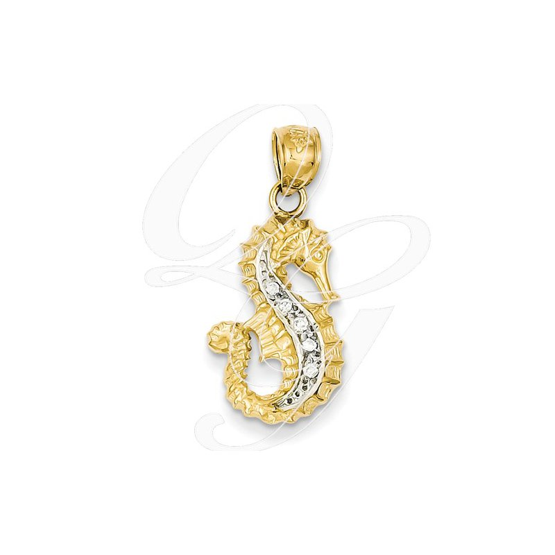 Sealife Jewelry Quality Collection 14k Yellow and White Gold Diamond Seahorse Pendant