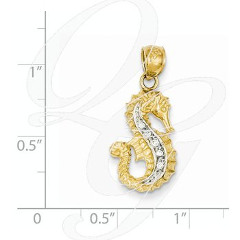 Quality Collection 14k Yellow and White Gold Diamond Seahorse Pendant