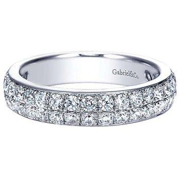 14k White Gold Two Row Diamond Wedding Ring Anniversary Band by Gabriel NY