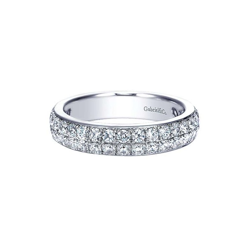 Gabriel NY 14k White Gold Two Row Diamond Wedding Ring Anniversary Band by Gabriel NY