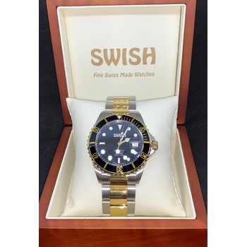 SWISH Swiss Made Watch Stainless Steel and Gold Tone IPG Bezel - Style #SW007