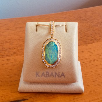 18k Yellow Gold Australian Opal Inlay and Diamond Pendant by Kabana