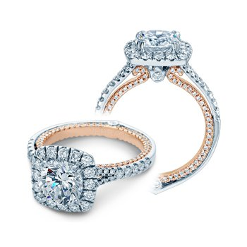 Verragio Couture 0434CU - 14k White Gold and Rose Gold Diamond Cushion Halo Style Engagement Ring by Verragio