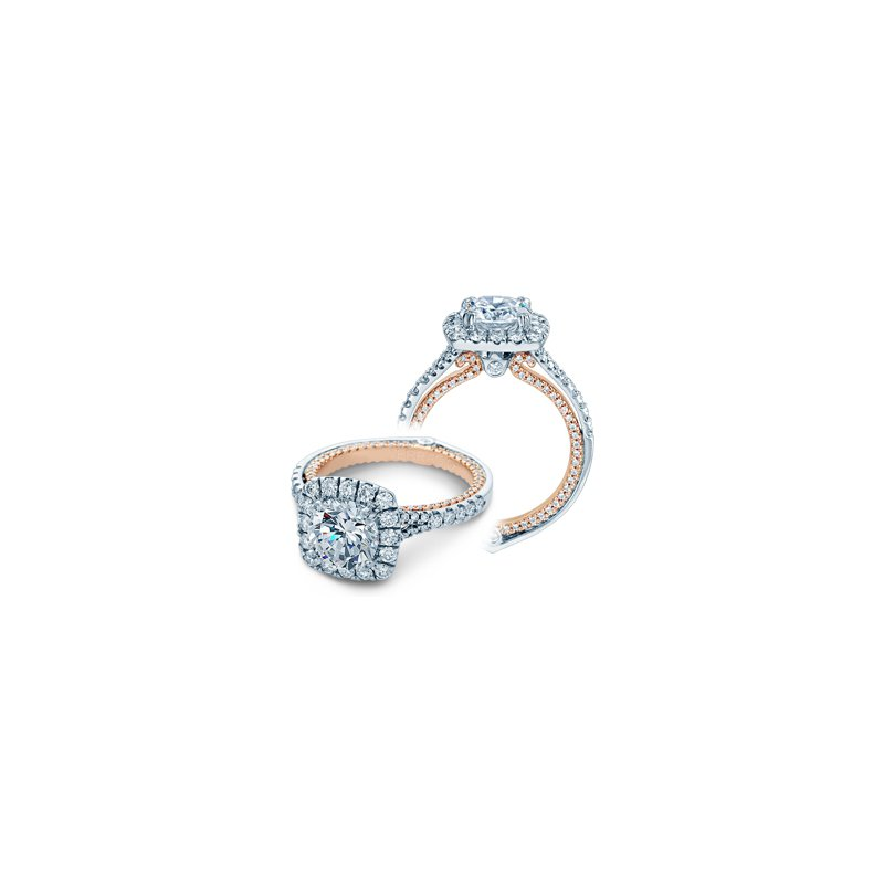 Verragio Verragio Couture 0434CU - 14k White Gold and Rose Gold Diamond Cushion Halo Style Engagement Ring by Verragio