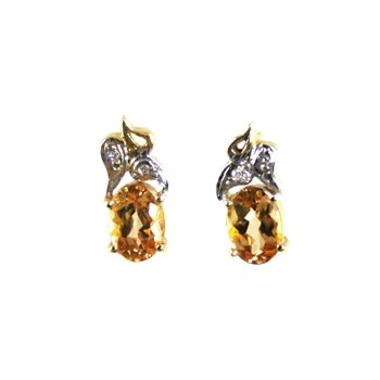 Genuine Imperial Topaz Earrings in 14k Yellow & White Gold
