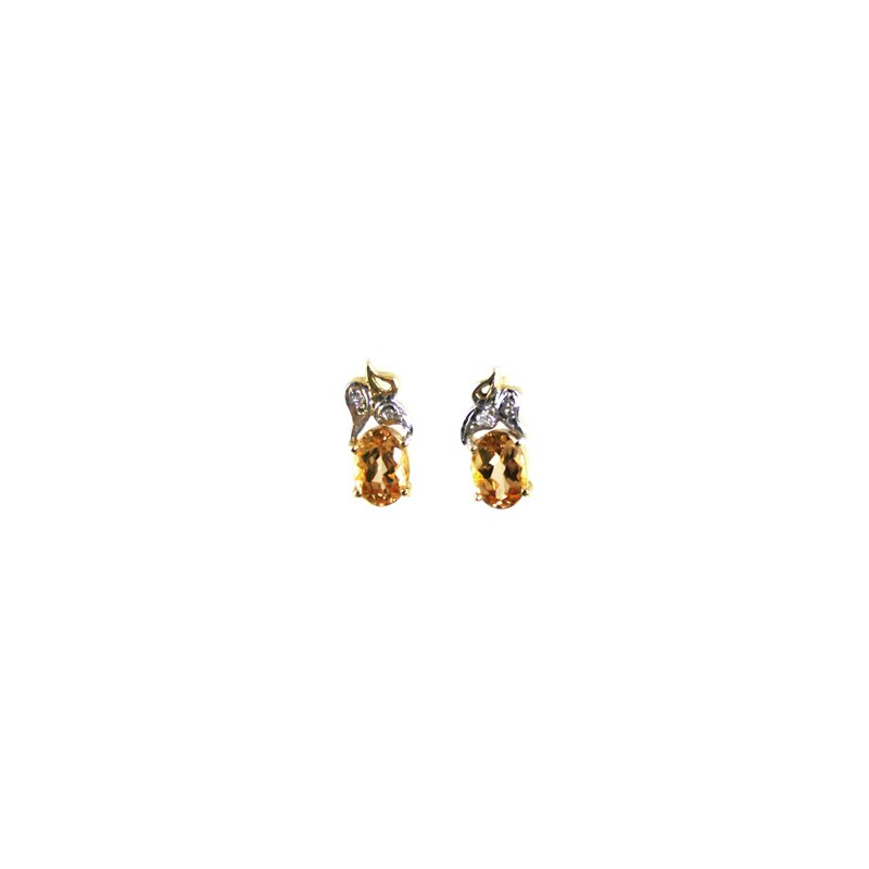 Signature Collection Genuine Imperial Topaz Earrings in 14k Yellow & White Gold