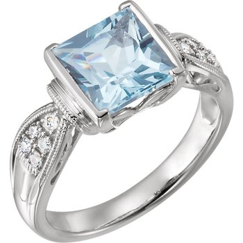 14k White Gold Buff Top Aquamarine and Diamond Ring