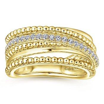 14k Yellow Gold Beaded Crossover Diamond Band by Gabriel NY