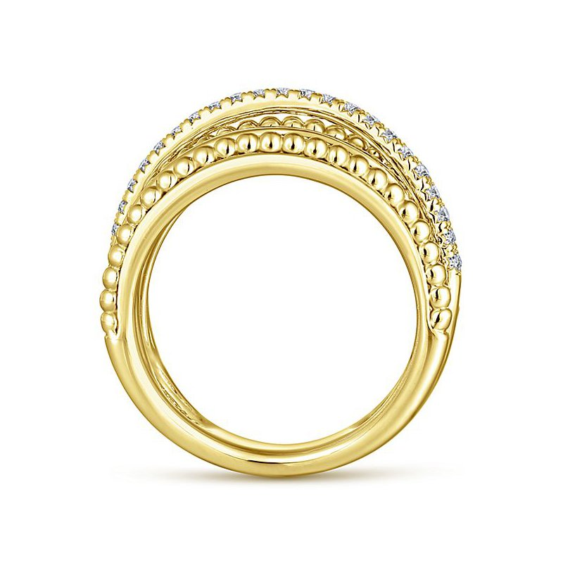 Signature Collection 14k Yellow Gold Beaded Crossover Diamond Band by Gabriel NY