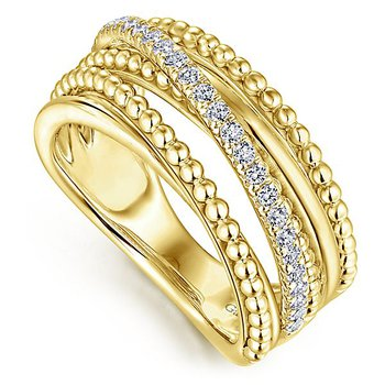 14k Yellow Gold Beaded Crossover Diamond Band by Gabriel NY