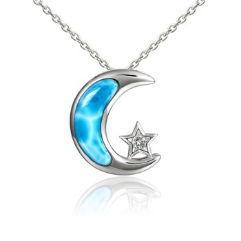 Sterling Silver Moon & Star Pendant with Larimar