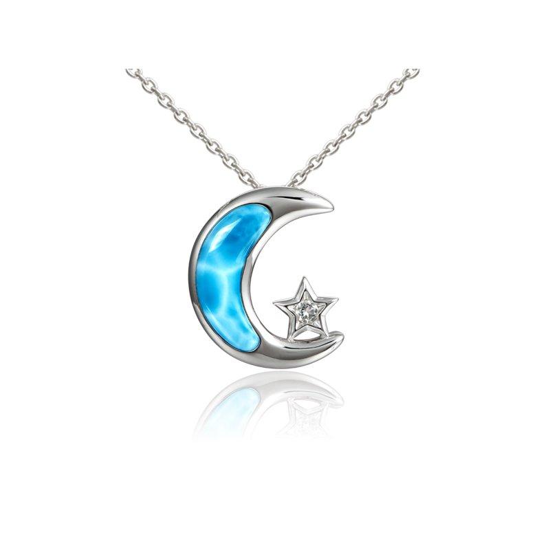 Alamea Larimar  Sterling Silver Moon & Star Pendant with Larimar
