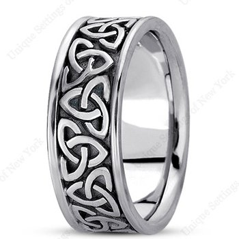Unique Settings HM222 - 14k White Gold Handmade Celtic Design 8mm Men's Wedding Band