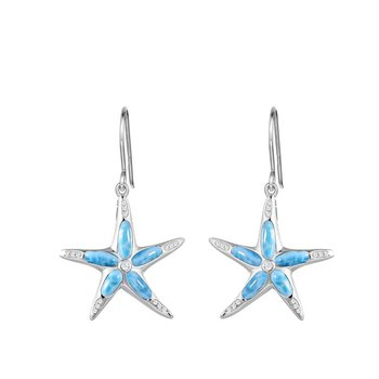 Sterling Silver Starfish Earrings with Larimar