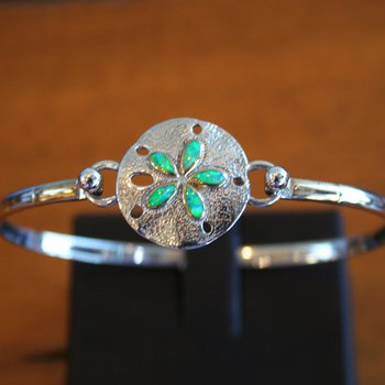 Sterling Silver and 18k Gold Plate Bangle Sanddollar Bracelet Topper with Kyocera Lab Created Opal