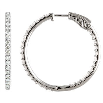 14k White Gold Inside Out Diamond Hoop Earrings - #E5CTW