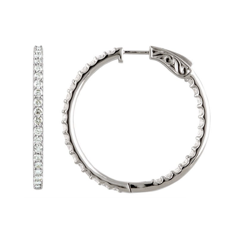 Signature Collection 14k White Gold Inside Out Diamond Hoop Earrings - #E5CTW