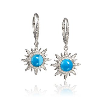Sterling Silver Larimar Sun Earrings with White Topaz