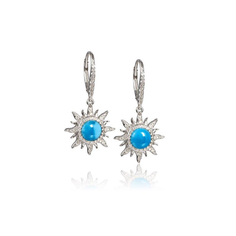 Alamea Larimar  Sterling Silver Larimar Sun Earrings with White Topaz
