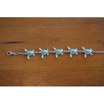 Sterling Silver and Gold Plate Turtle Bracelet with Kyocera Lab Created Opal