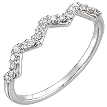 14k White Gold Zig Zag Diamond Stackable Ring